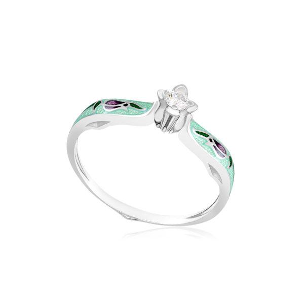 61 138 2s 1 600x600 - Перстень серебряный «Примавера», мятный с фианитами