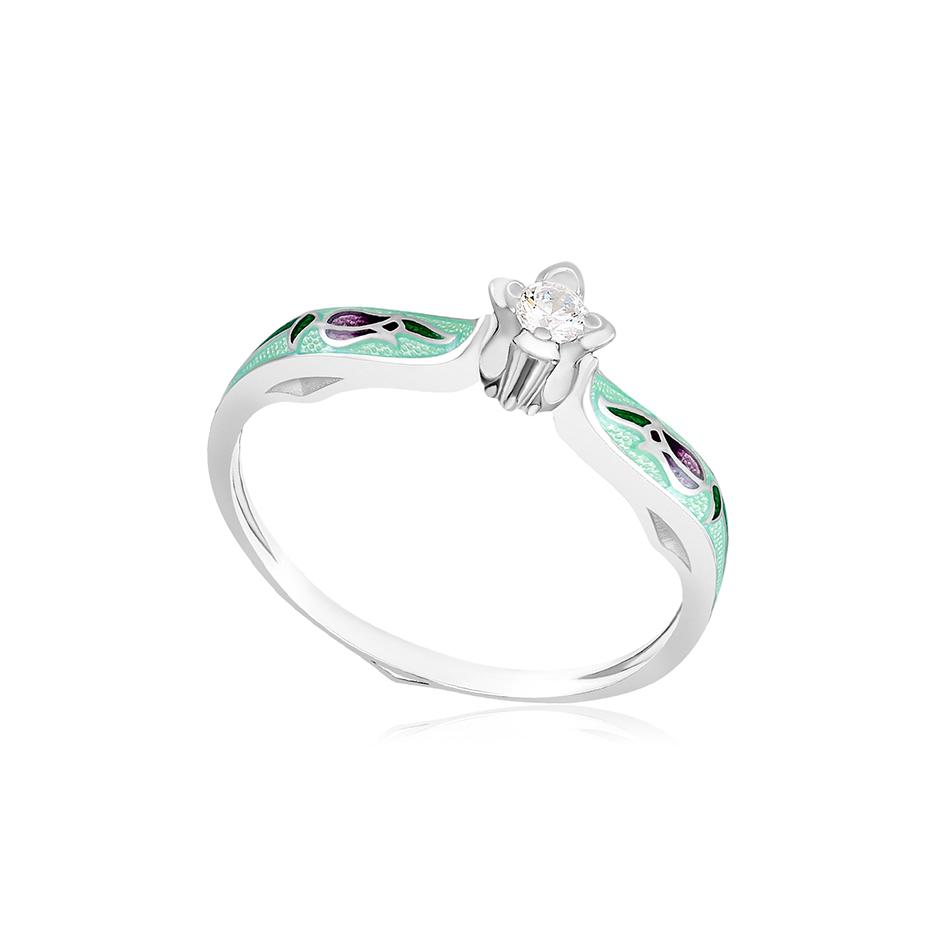 61 138 2s 1 - Перстень серебряный «Примавера», мятный с фианитами