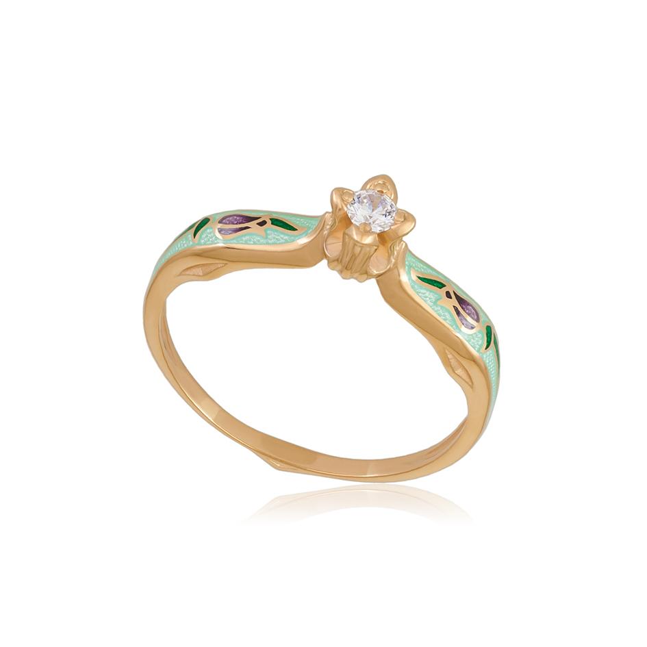 61 138 2z 1 - Перстень серебряный «Примавера» (золочение), мятное с фианитами