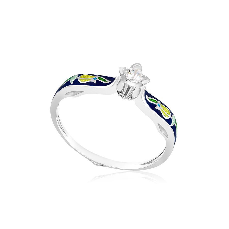 61 138 3s 1 - Перстень из серебра «Примавера», синее с фианитами