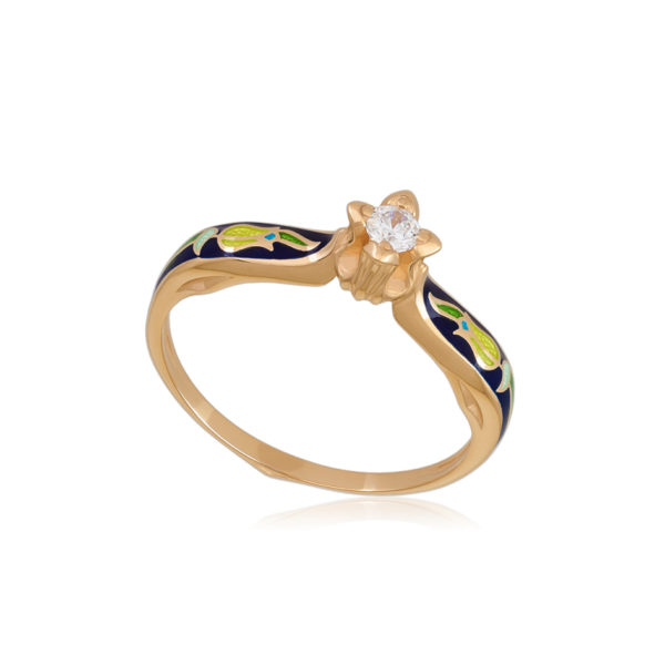 61 138 3z 1 600x600 - Перстень серебряный «Примавера» (золочение), синее с фианитами