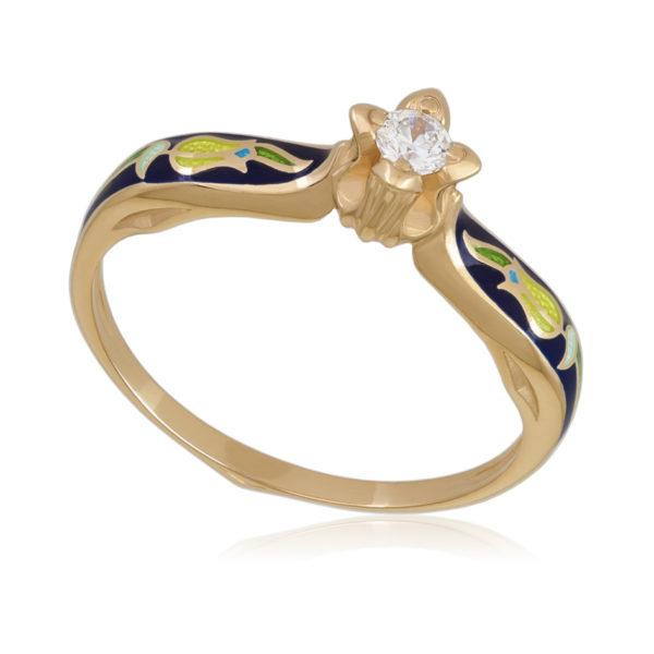 Перстень «Примавера», (золочение, синее)