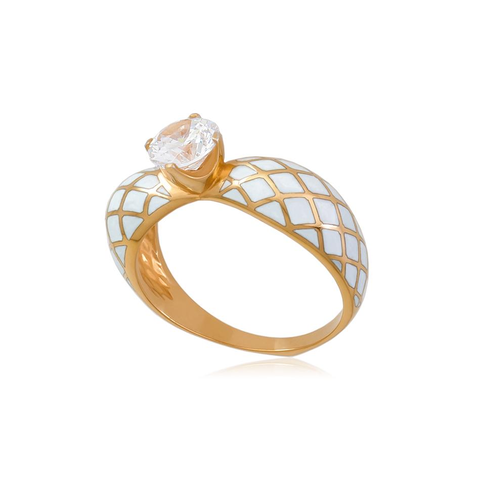 61 139 1z 1 1 - Кольцо серебряное «Сердце» (золочение), белое с фианитами