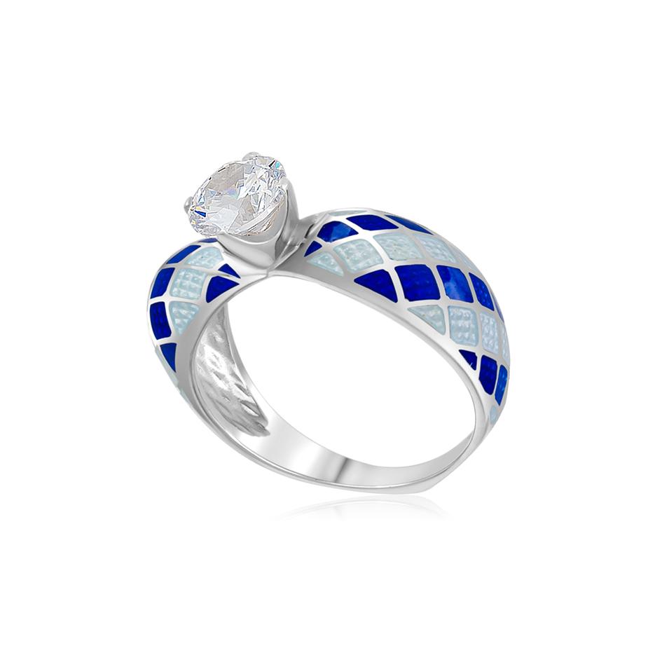 61 139 2s 1 1 - Кольцо серебряное «Сердце», сине-белая с фианитами