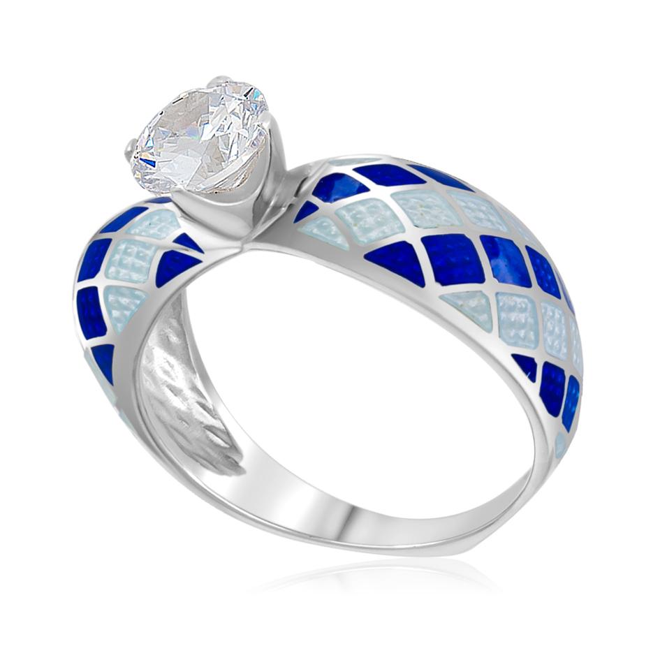 Кольцо «Сердце», сине-белая