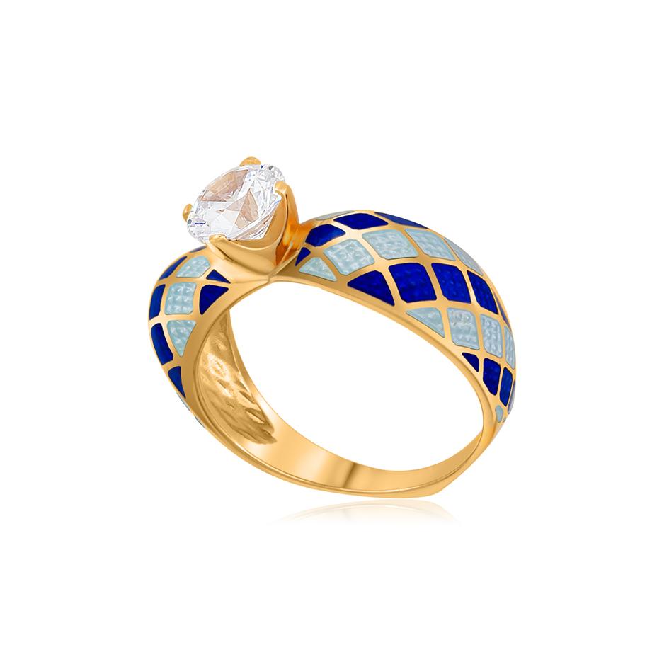 61 139 2z 1 1 - Кольцо серебряное «Сердце» (золочение), сине-белое с фианитами