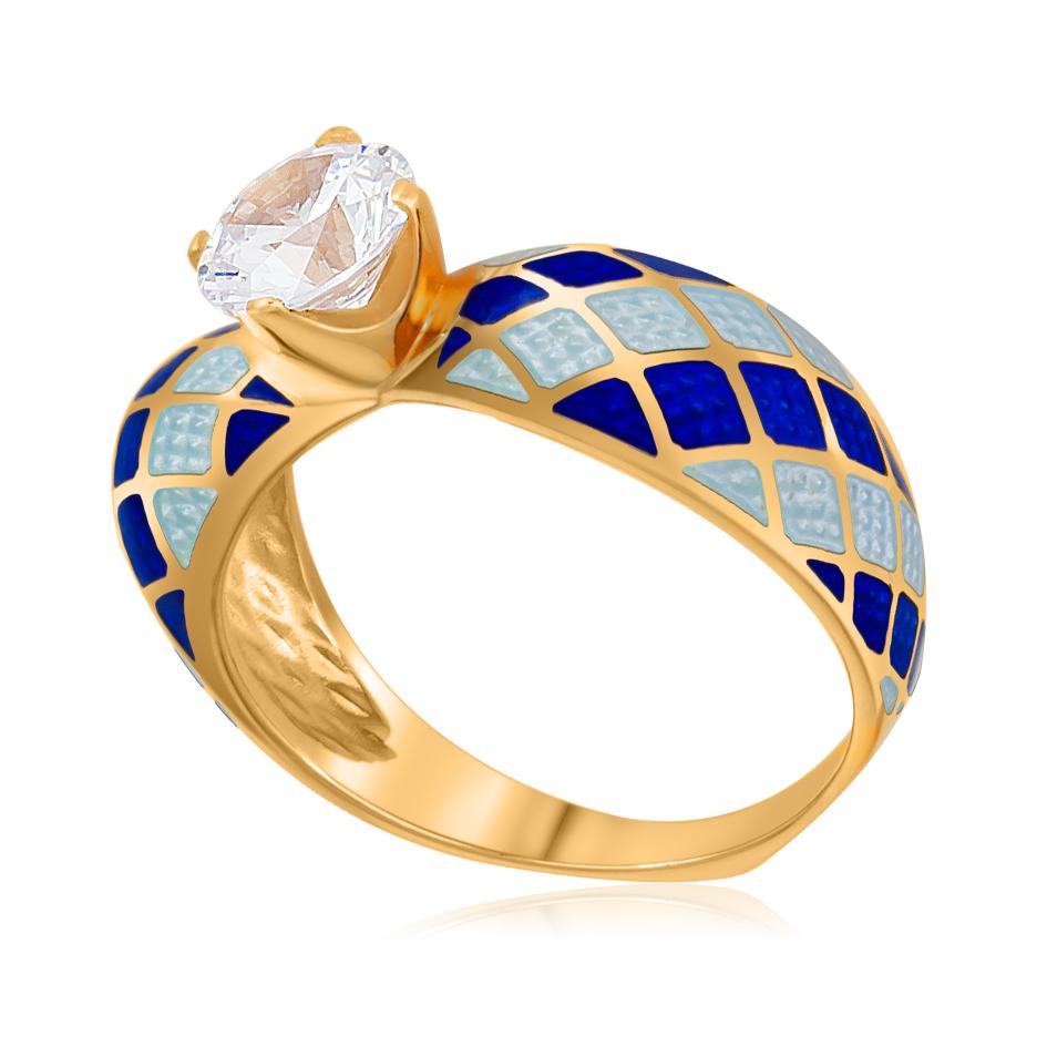 61 139 2z 1 - Кольцо «Сердце» (золочение), сине-белое с фианитами