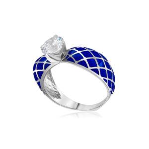 61 139 3s 1 1 300x300 - Кольцо из серебра «Сердце», синее с фианитами