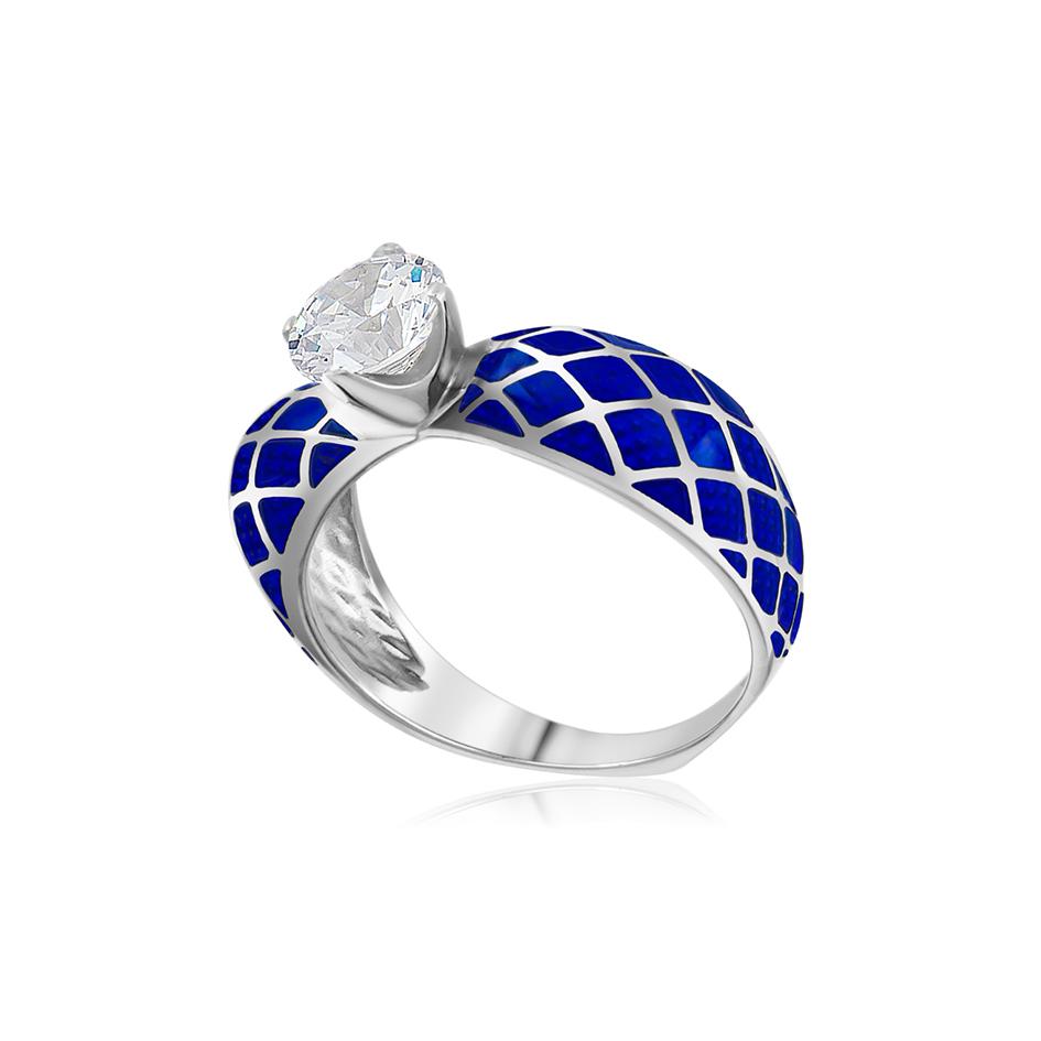 61 139 3s 1 1 - Кольцо из серебра «Сердце», синее с фианитами