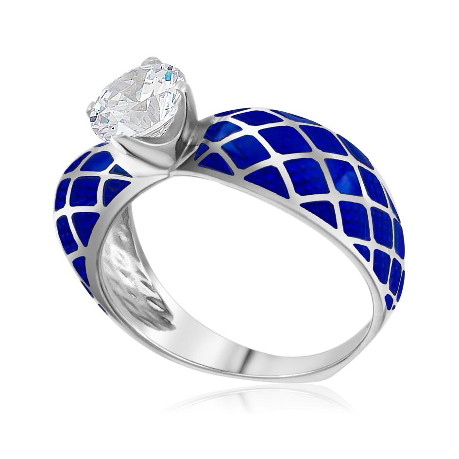 Кольцо «Сердце», синяя
