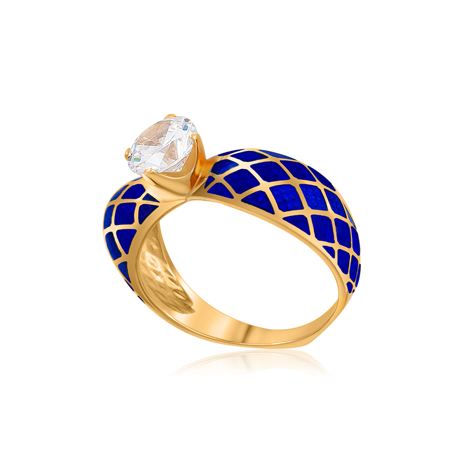 61 139 3z 1 - Кольцо серебряное «Сердце» (золочение), синее с фианитами