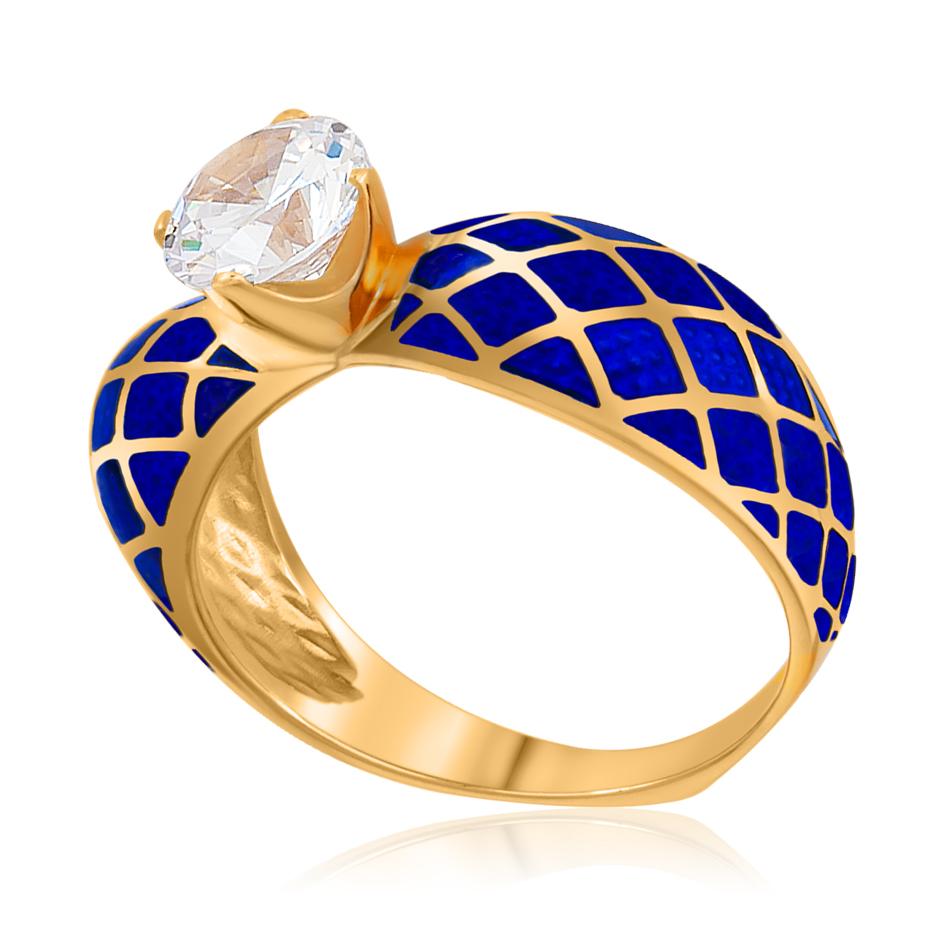 61 139 3z - Кольцо «Сердце» (золочение), синяя с фианитами