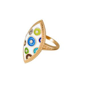 61 143z 1 300x300 - Перстень серебряный «Пуговки» (золочение) с фианитами