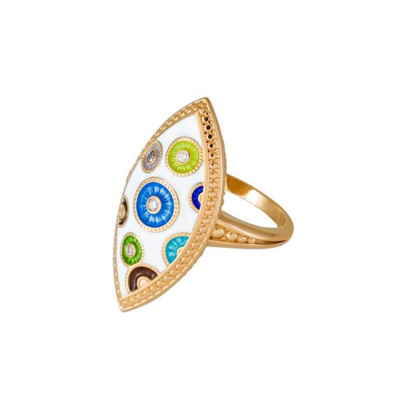 61 143z 1 600x600 - Перстень серебряный «Пуговки» (золочение) с фианитами
