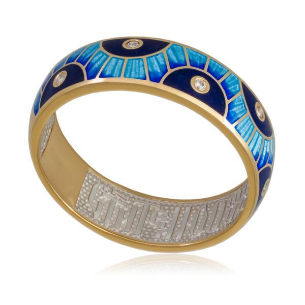 Кольцо «Эрте» (золочение, синяя)