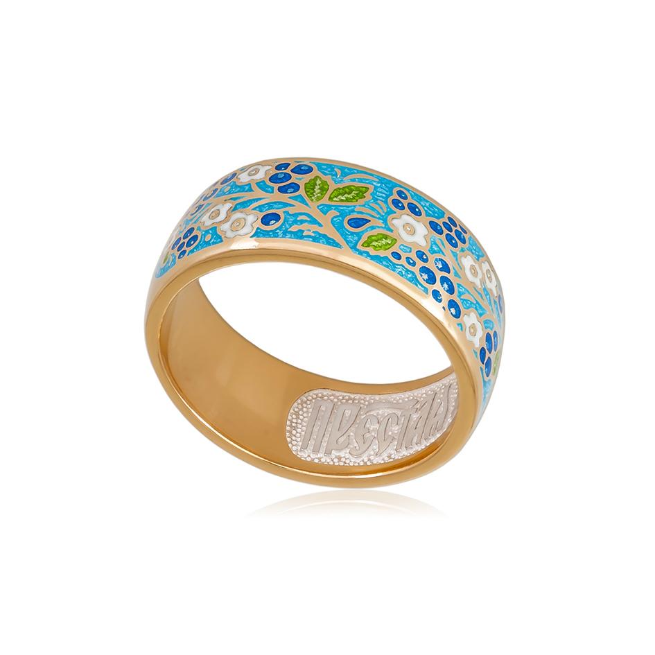 6 01 1z 1 - Кольцо серебряное «Смородинка» (золочение), голубое