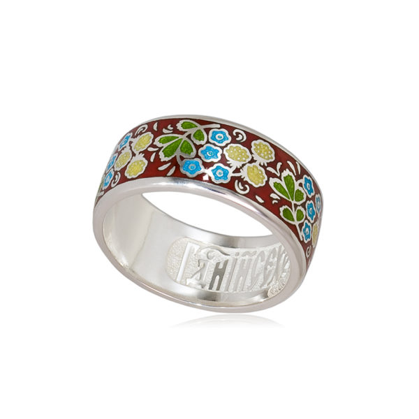 6 02 2s 1 600x600 - Кольцо из серебра «Клематис» (золочение), фиолетово-зеленое