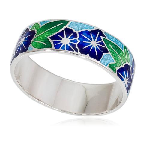 6 04 3s - Кольцо «Петуния», голубая