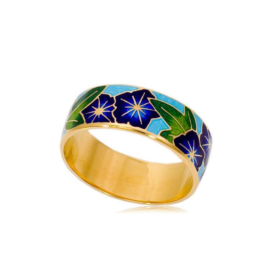 6 04 3z 1 1 - Кольцо «Петуния» (золочение), синее