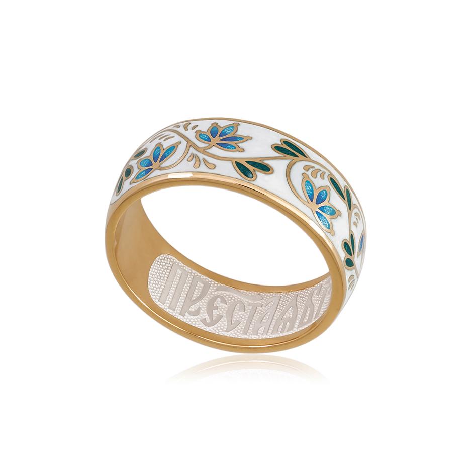 6 05 3z 2 - Кольцо из серебра «Барбарис» (золочение), бело-синее