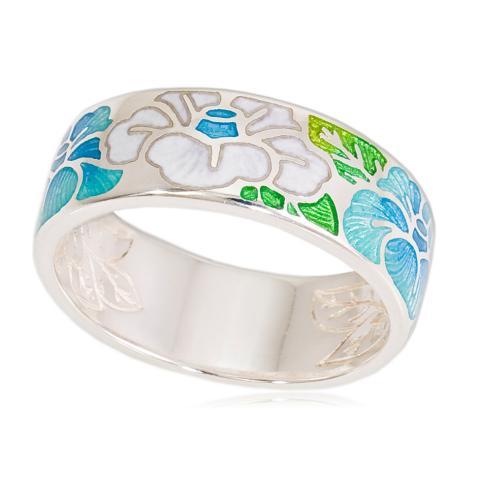 Кольцо «Камелия», бело-голубая