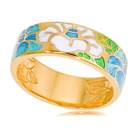 Кольцо «Камелия» (золочение), бело-голубая