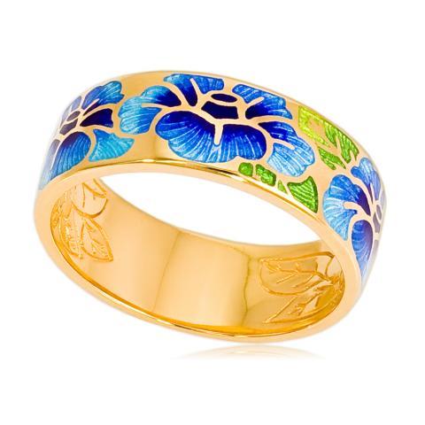 Кольцо «Камелия» (золочение), синяя