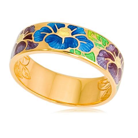 Кольцо «Камелия» (золочение), сине-фиолетовая