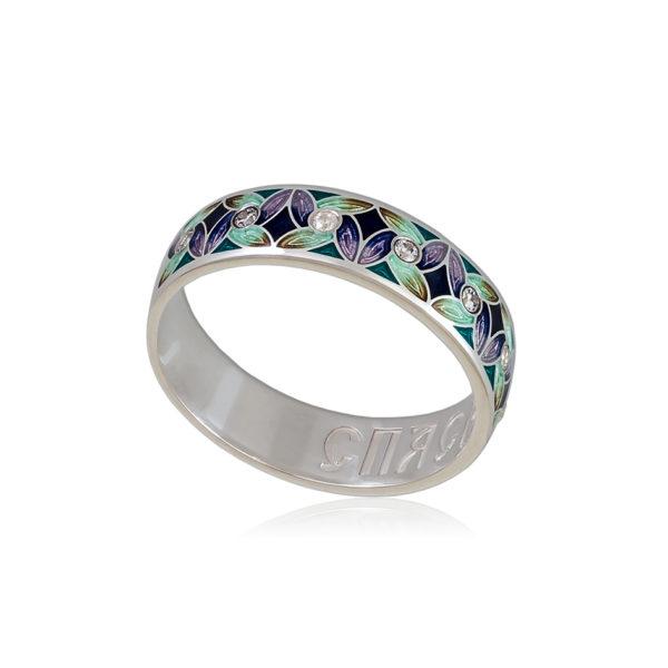 6 100 1s 1 600x600 - Кольцо из серебра «Ветерок» (золочение), фиолетово-зеленое с фианитами