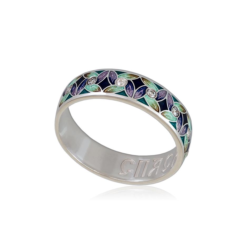 6 100 1s 1 - Кольцо «Ветерок», фиолетово-зеленое с фианитами