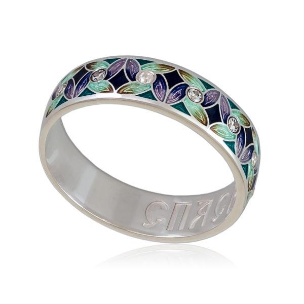 Кольцо «Ветерок», фиолетово-зеленая