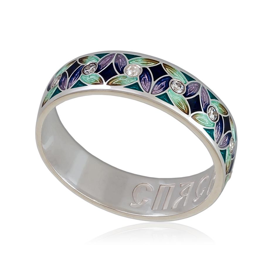 6 100 1s - Кольцо «Ветерок», фиолетово-зеленое с фианитами