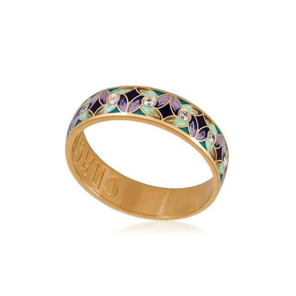 6 100 1z 1 600x600 - Кольцо из серебра «Ветерок» (золочение), фиолетово-зеленое с фианитами