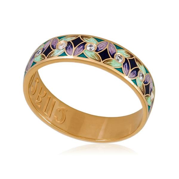 Кольцо «Ветерок» (золочение), фиолетово-зеленая