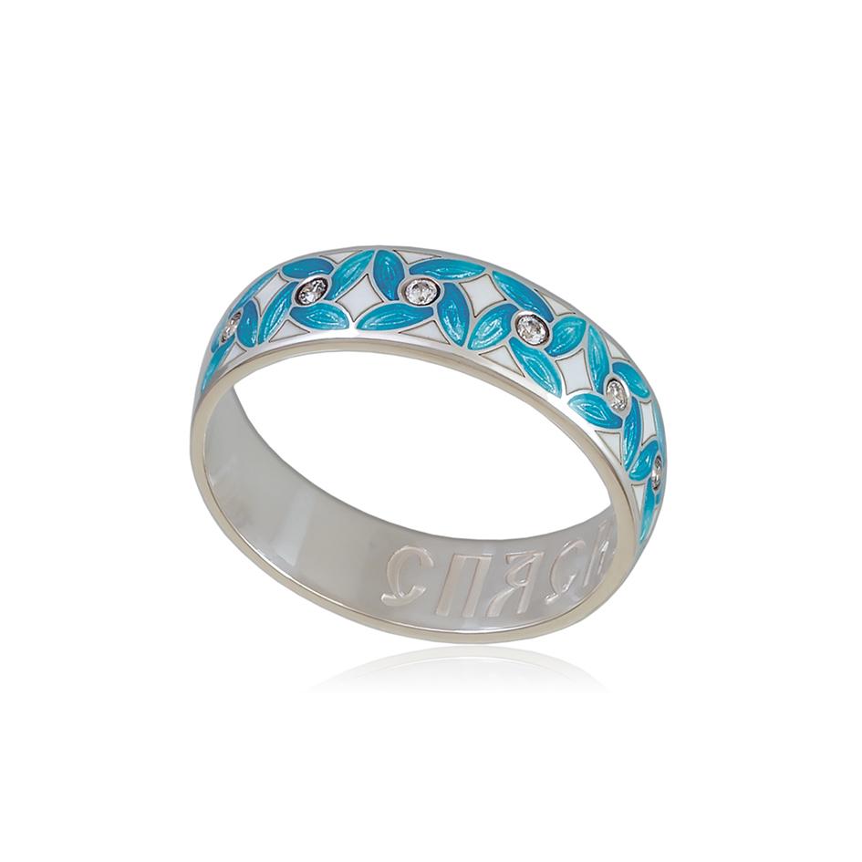 6 100 2s 1 - Кольцо «Ветерок», голубое с фианитами