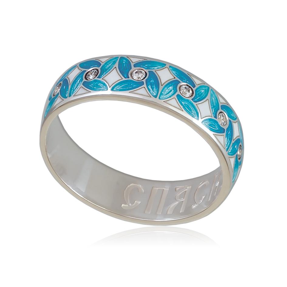 6 100 2s - Кольцо «Ветерок», голубое с фианитами