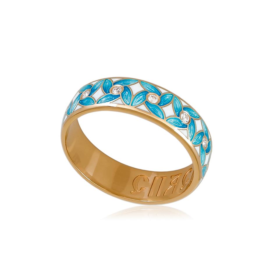 6 100 2z 1 - Кольцо из серебра «Ветерок» (золочение), голубое с фианитами