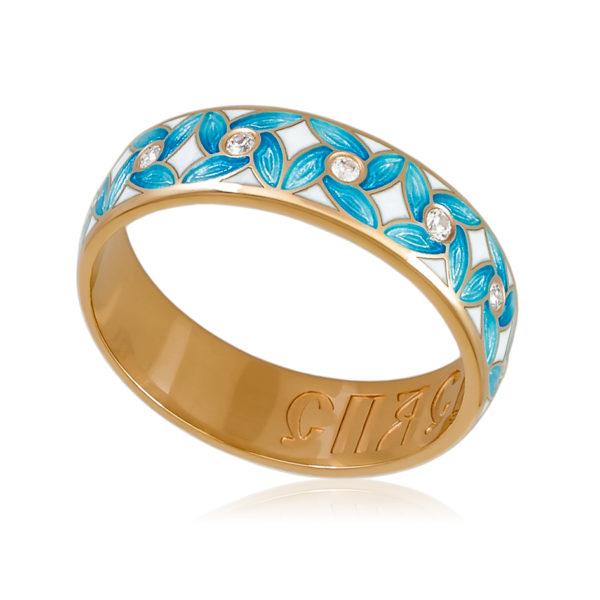 Кольцо «Ветерок» (золочение), голубая