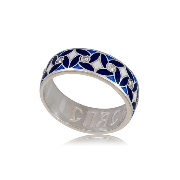 6 100 3s 1 600x600 - Кольцо «Ветерок», синее с фианитами