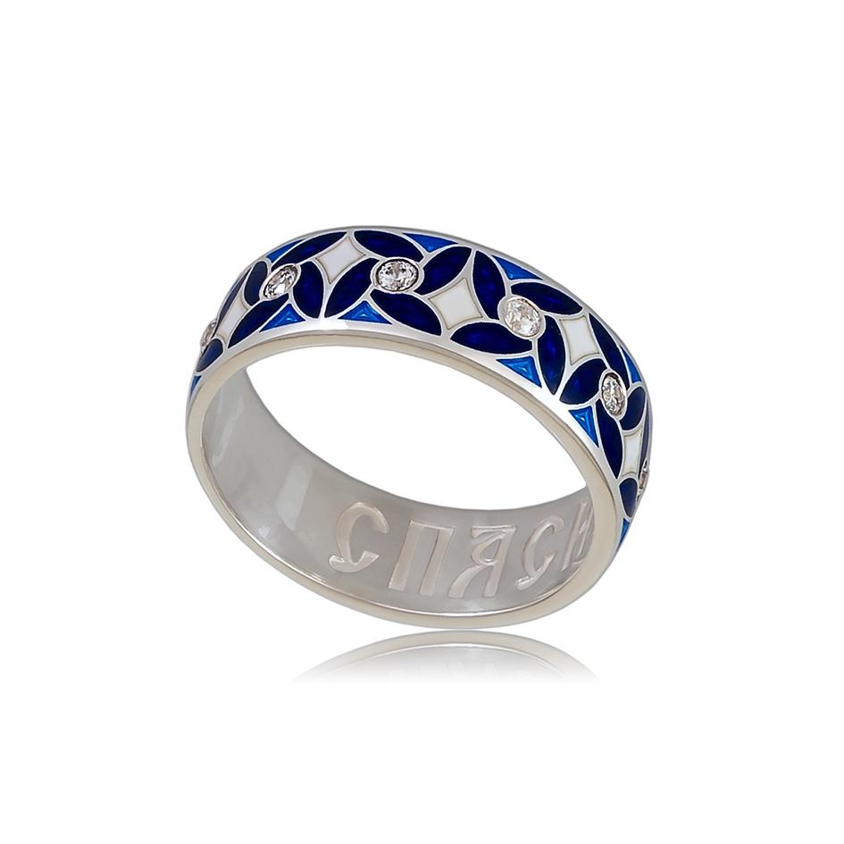 6 100 3s 1 - Кольцо «Ветерок», синее с фианитами