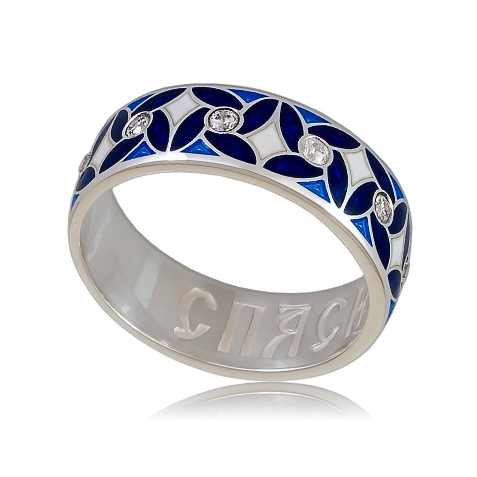 6 100 3s - Кольцо «Ветерок», синее с фианитами