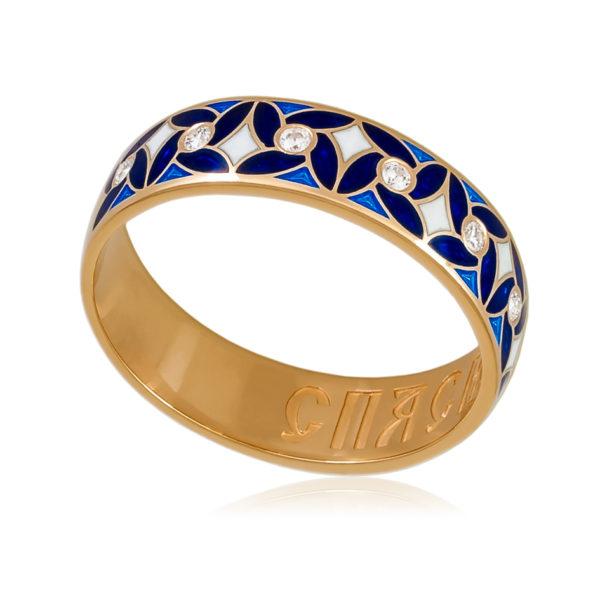 Кольцо «Ветерок» (золочение), синяя