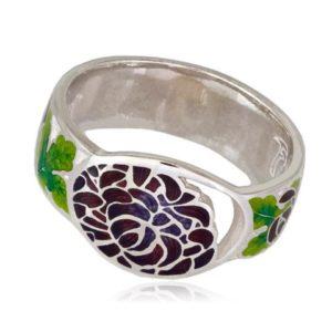 Кольцо «Хризантема», красная