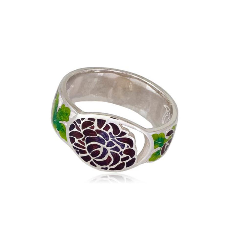 6 12 2 7 - Кольцо из серебра «Хризантема», фиолетовое