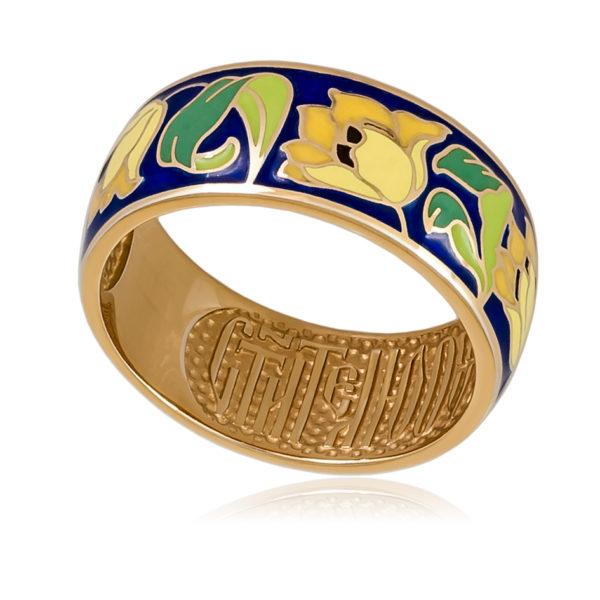 Кольцо «Тюльпаны» (золочение), желтая