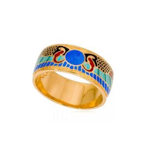 6 22 4 300x300 - Кольцо из серебра «Фараон» (золочение), синее