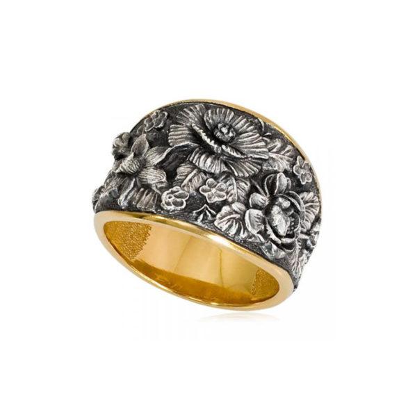 6 23 1 600x600 - Кольцо из серебра «Жостово» (золочение), серебряные розы