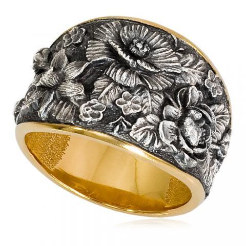 6 23 - Кольцо «Жостово» (золочение), серебряные розы