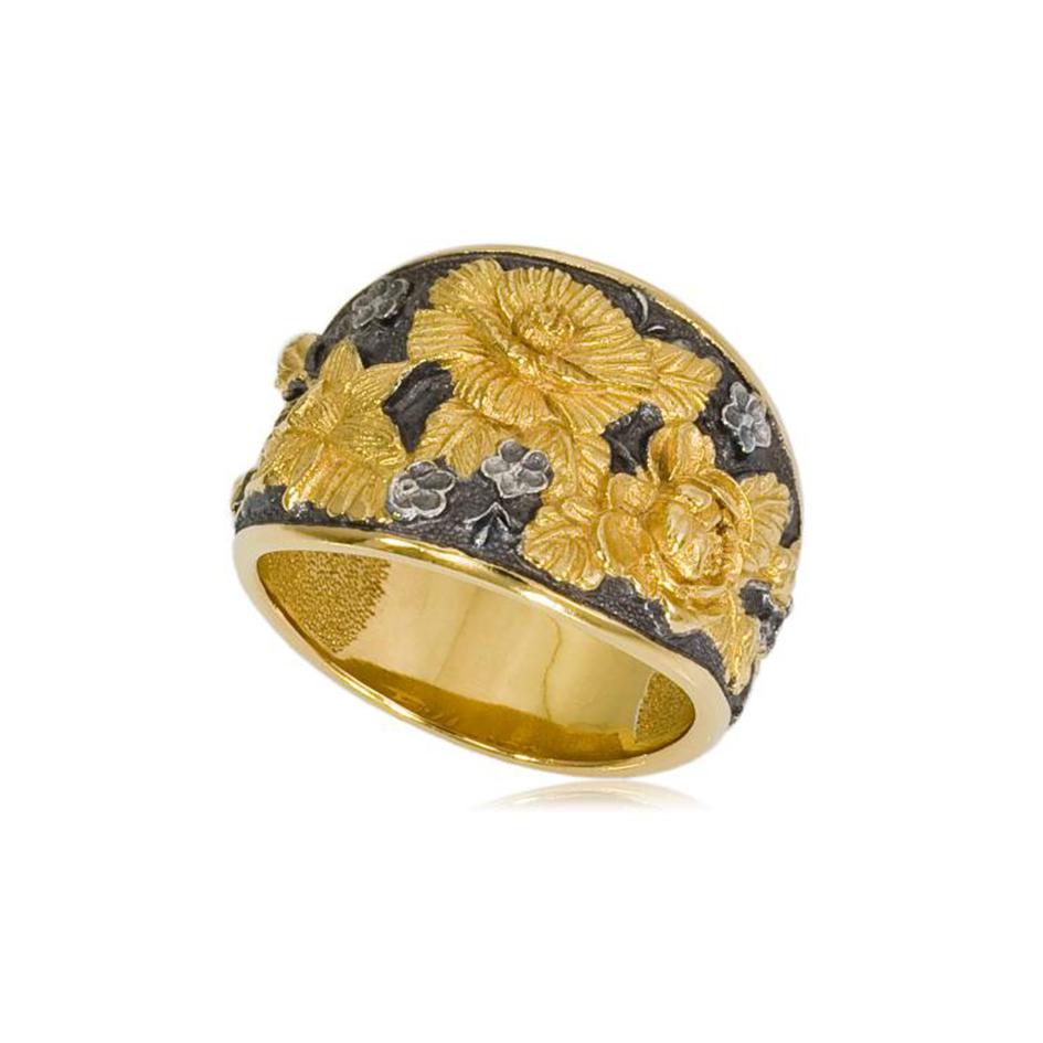 6 23 2 1 - Кольцо «Жостово» (золочение), золотые розы