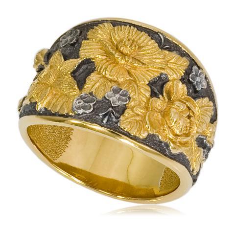 6 23 2 - Кольцо «Жостово» (золочение), золотые розы